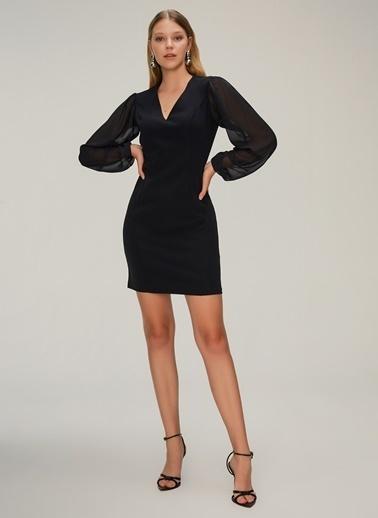 NGSTYLE Kolları Şifonlu Elbise Siyah
